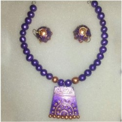 Orange -black terracotta jewellery