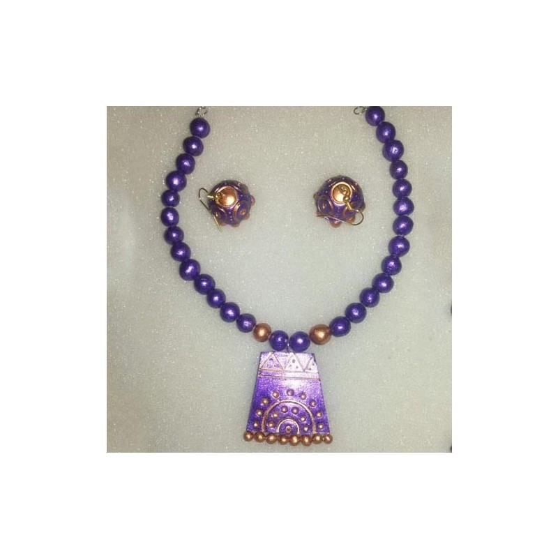 Orange -black terracotta jewellery