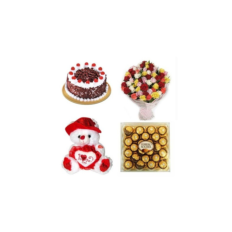Heart Shape cake with 6inch Teddy