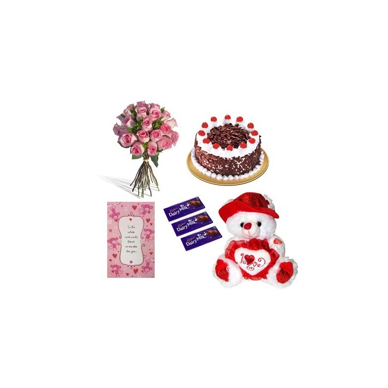 Yellow Roses in a bunch, 500g Cake with Teddy bear, Greeting card