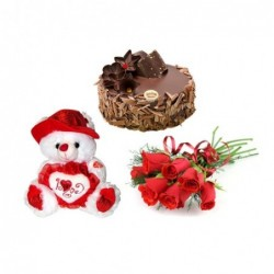 Gerberas with 6inch Teddy bear, 500g Cake