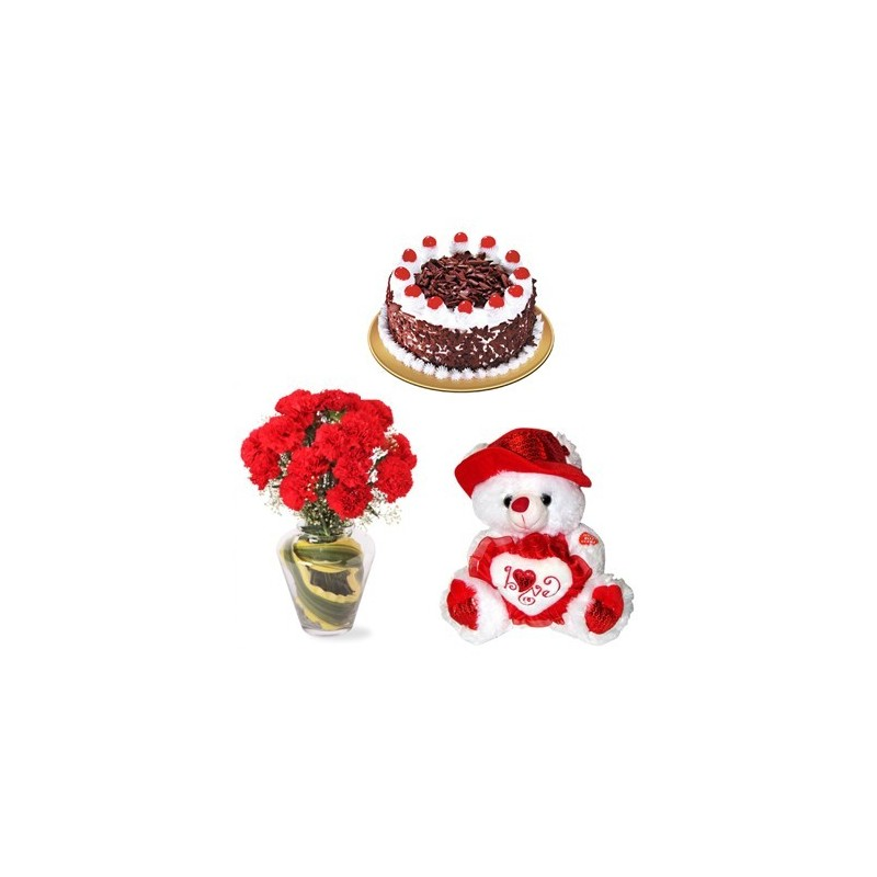 Roses in a bunch with 500g cake, teddy bear, 16pcs Ferrero rocher chocolate