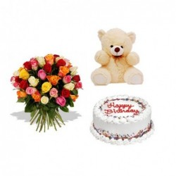 Pink Roses in a bunch, with Teddy bear, 500g Cake, 3nos dairy milk chocolate, Greeting card.