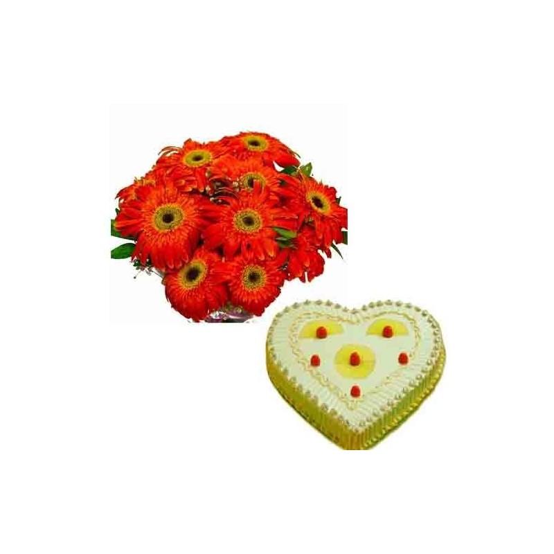 Diwali Treat of Pineapple Cake and Roses