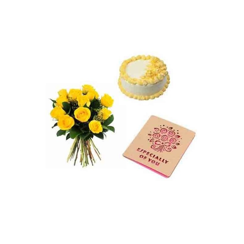 Basket of Roses with Chocolate Cake and Card