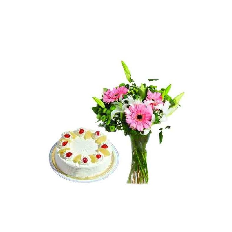 Diwali Hamper of Roses and Cake with Crackers
