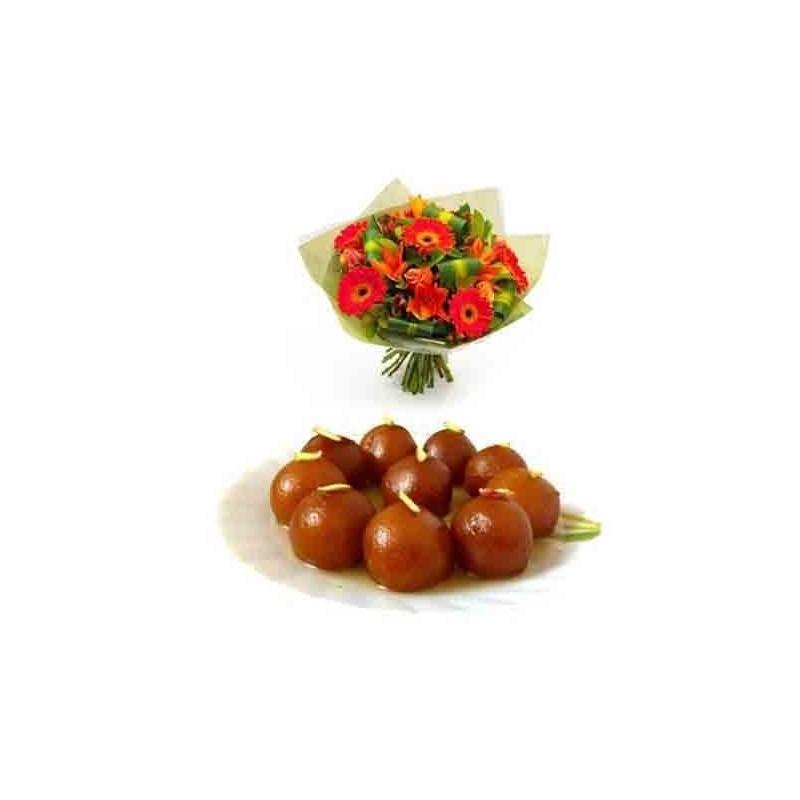 Diwali Gift Combo of Flowers and Chocolate Cake with Diya