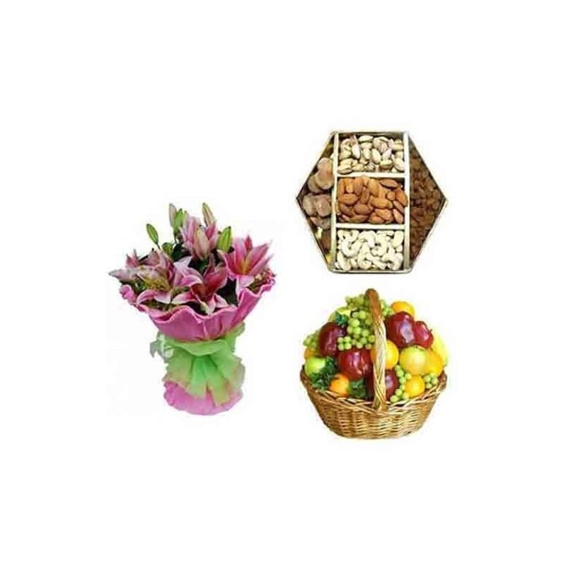 Diwali Diya with Box of Kaju Katli and Dry Fruits and Fresh Gerberas Bunch