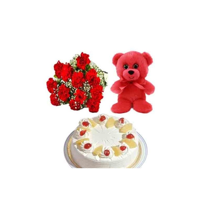 Flowers Bouquet with Soan Papdi and Dryfruits Box