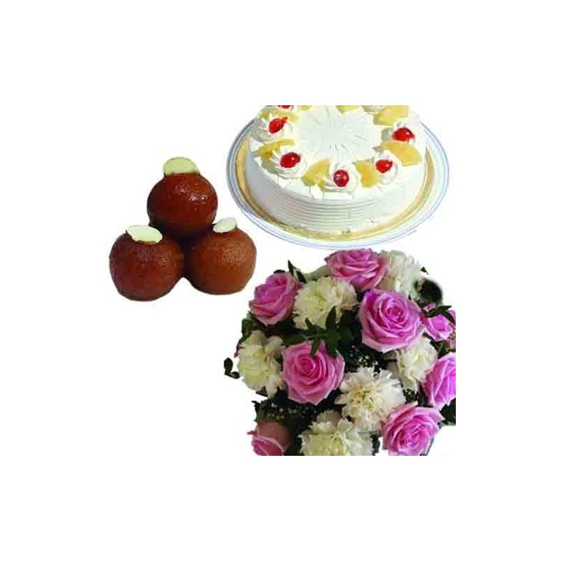 Diwali Card and Mix Roses with Dry fruits