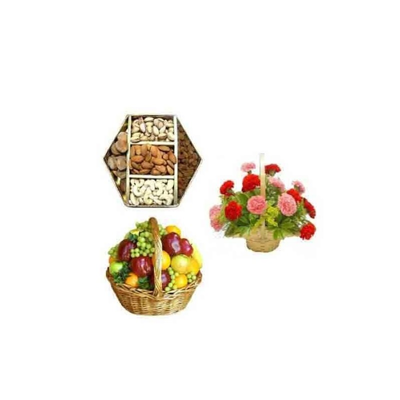 Diwali Diya and Card With Dryfruits and Heart Shape Roses Arrangement